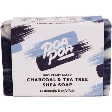 Poapoa Charcoal & Tea Tree Shea Soap, 100 g